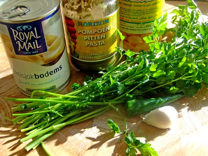 Puree van lupinebonen met pompoenpitten pasta