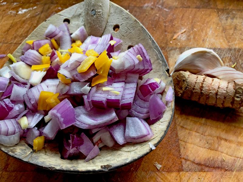 Stamppot van zoete aardappel en tuinbonen