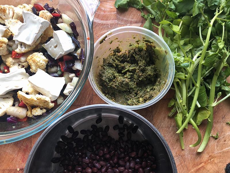 Aikido bonen met een kruidenmix en geroosterde groenten